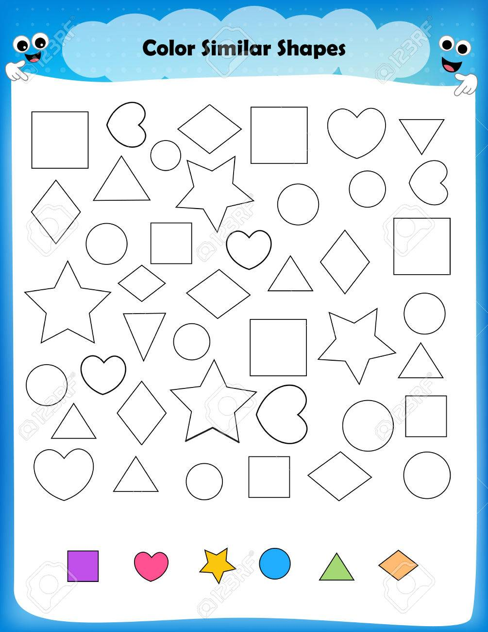 worksheet Preschool Pattern Worksheets worksheet color similar shapes for preschool kids stock vector 68974179