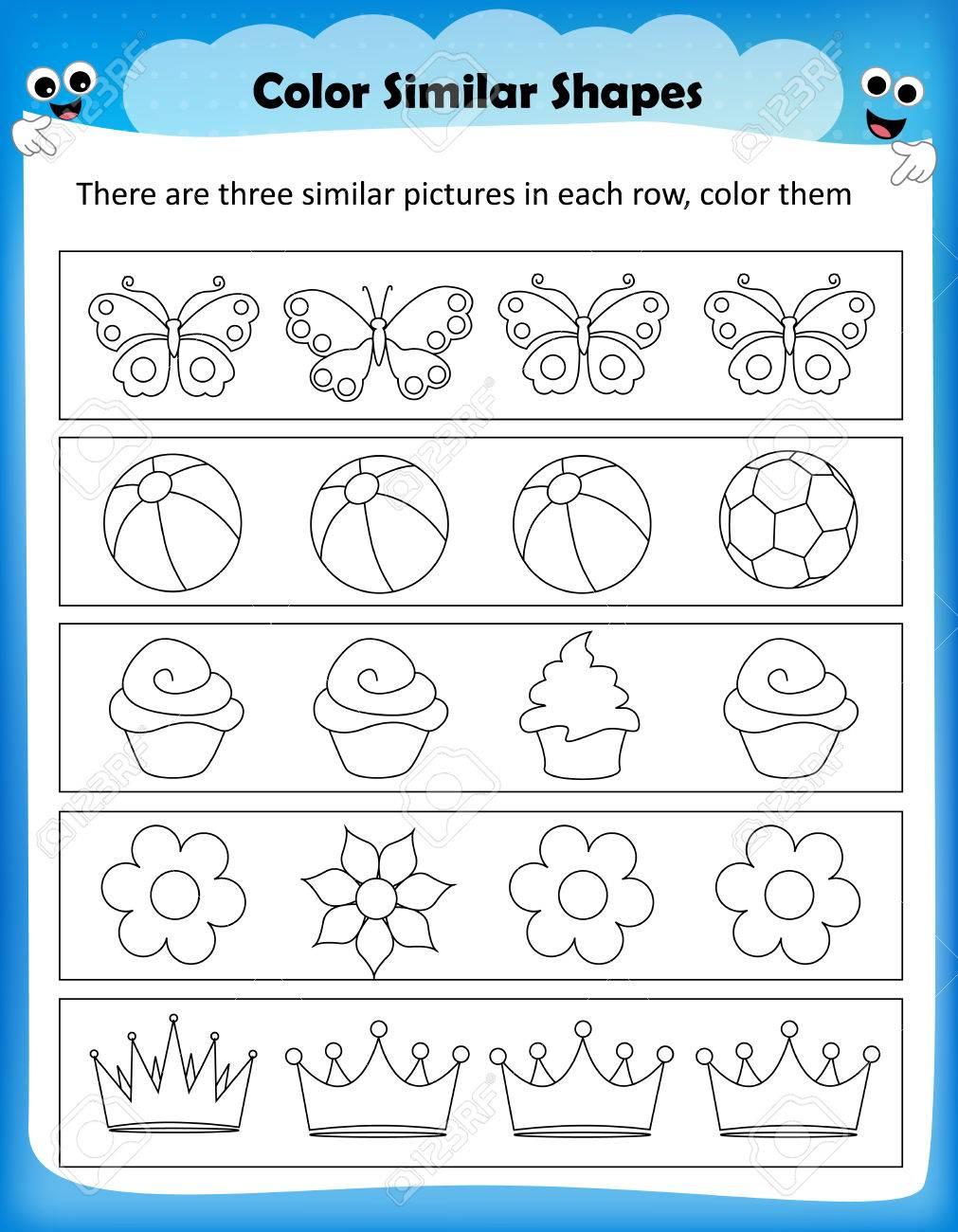 Arbeitsblatt - Farbe ähnliche Formen Kinder Arbeitsblatt Für ...