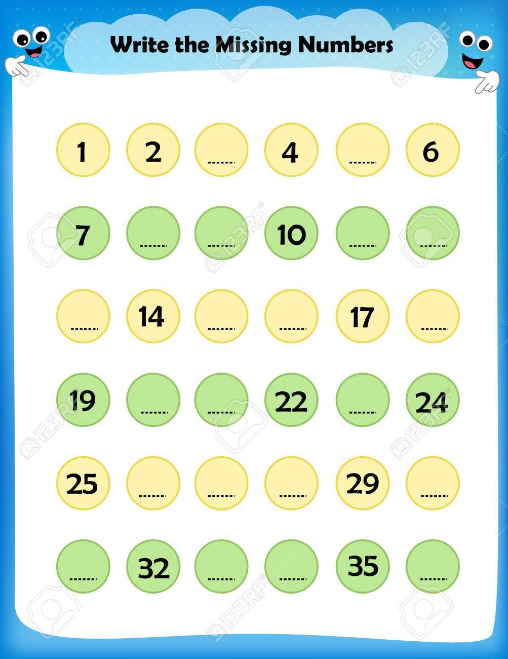 Kids Worksheet Write The Missing Numbers - Maths Worksheet For ...
