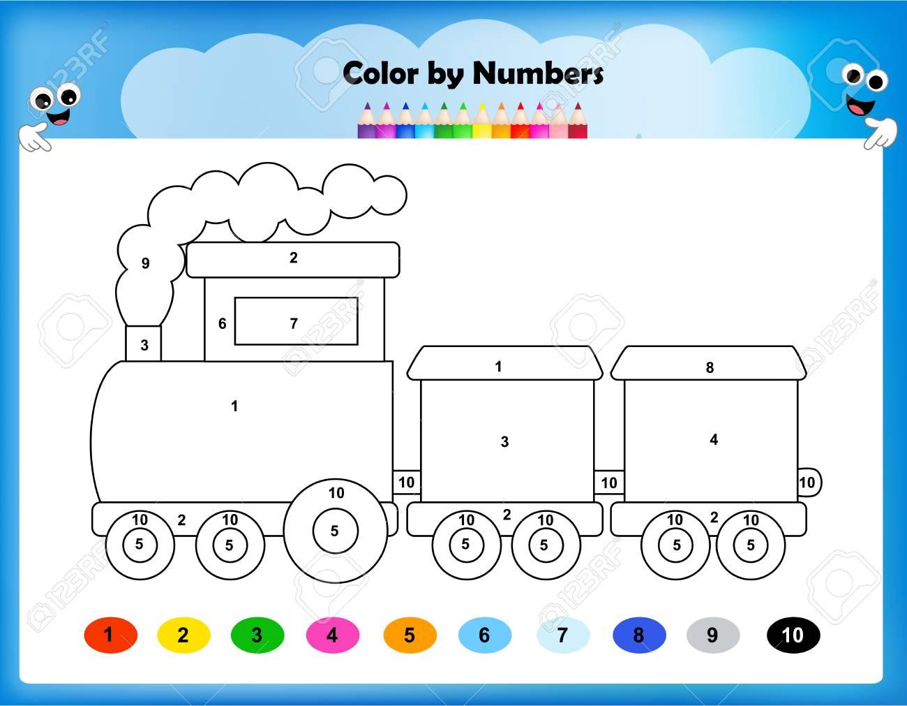 Worksheet - Color By Numbers Train Worksheet For Preschool Kids ...