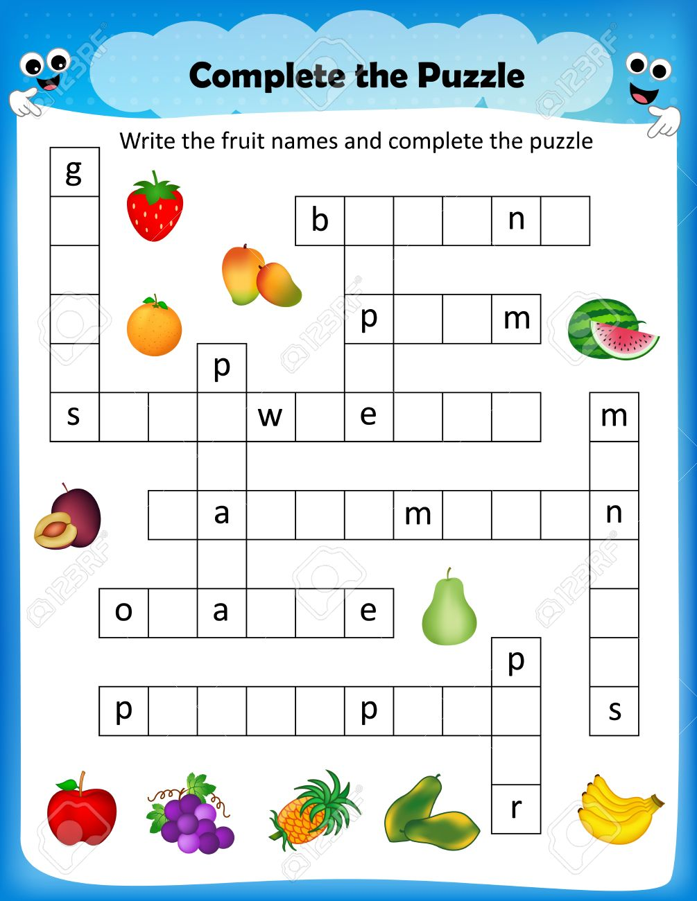 Game with shapes of different colors crossword - Worksheet Complete The Crossword Puzzle Fruits Worksheet For Preschool Kids Stock Vector 68973934