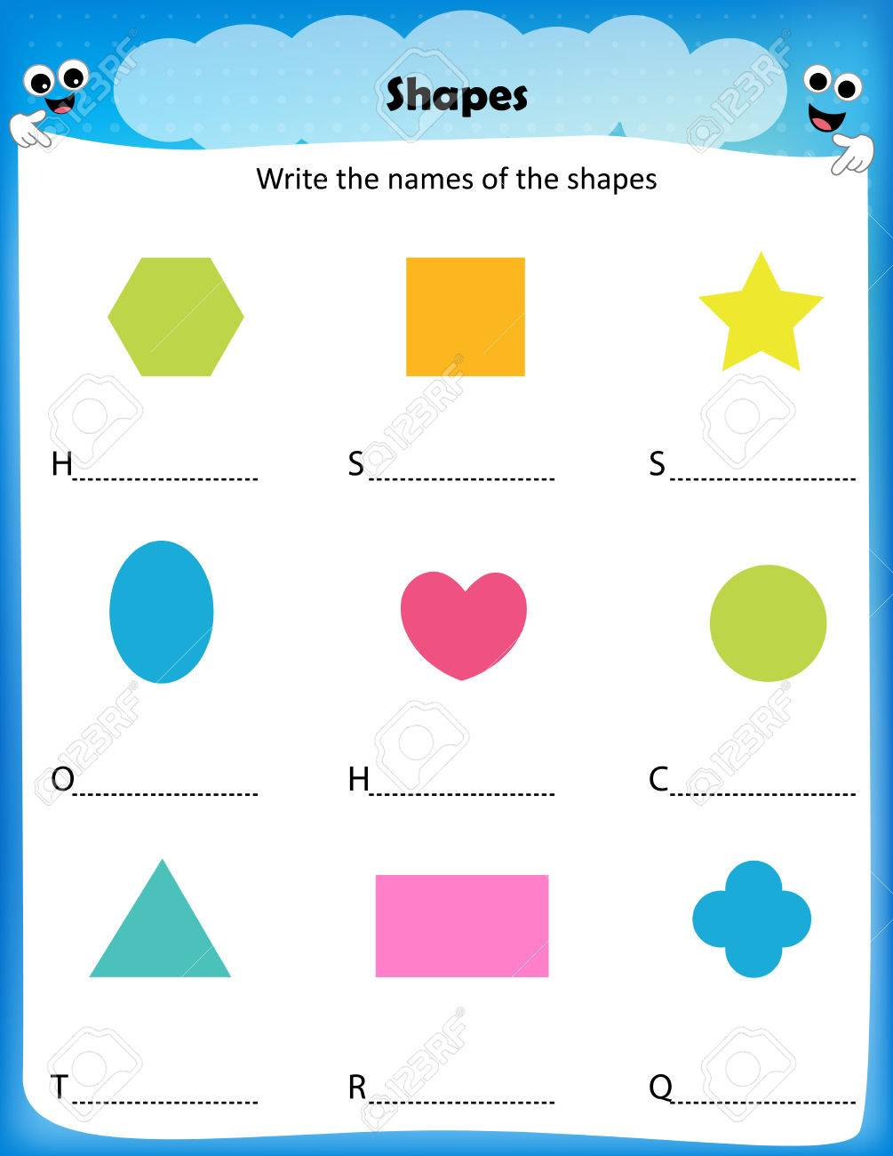 worksheet - write the names of the shapes,worksheet for preschool..