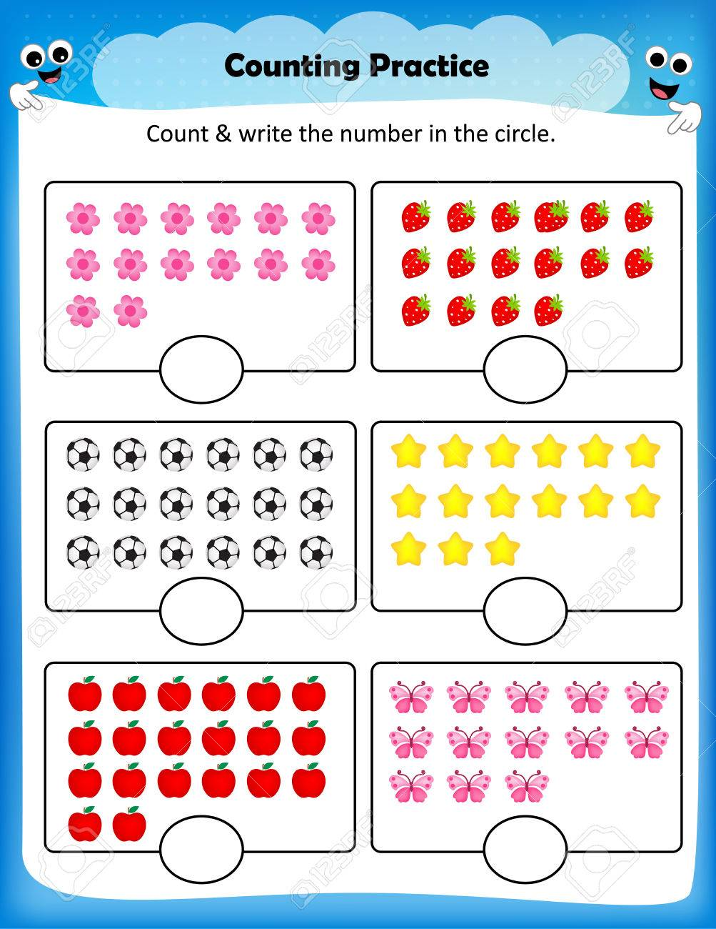 Kids Worksheet Counting Practice , Maths Worksheet For Preschool ...