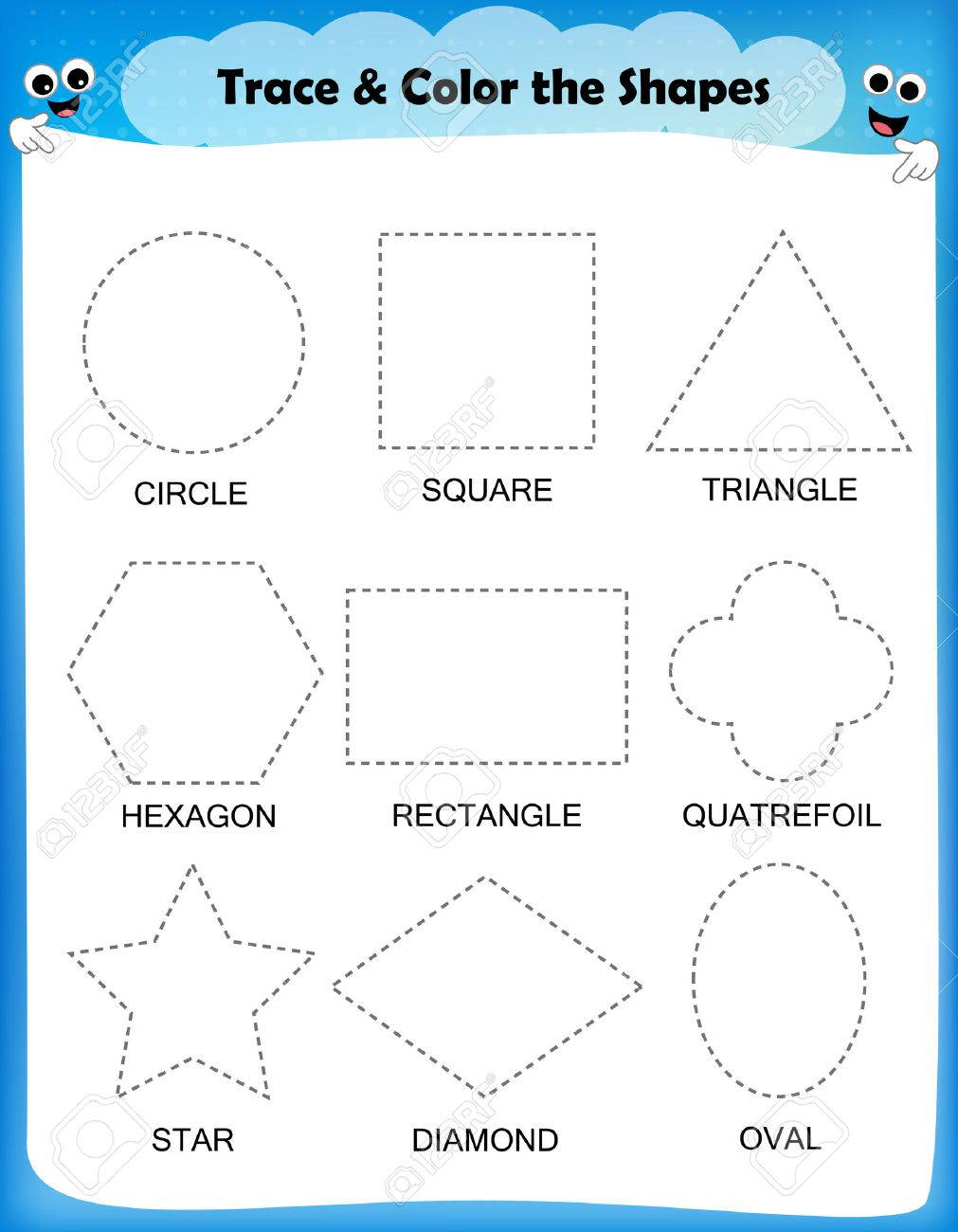 worksheet Vectors Worksheet preschool worksheet trace the shapes and color basic writing coloring practice stock vector
