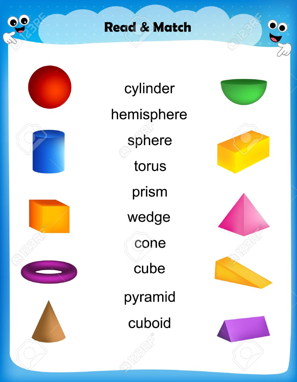 Worksheet Match 3d Shape Images With Their Names Worksheet