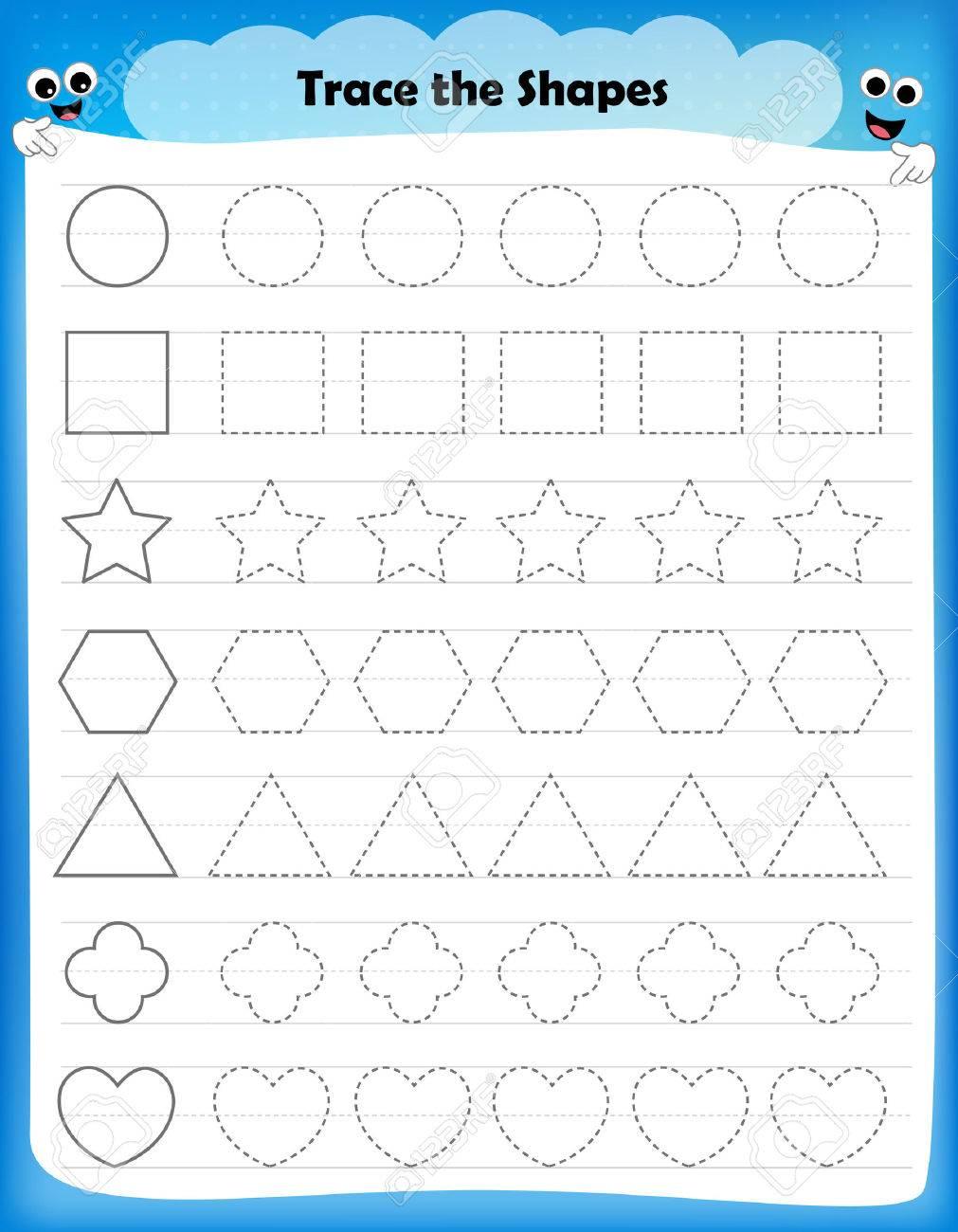 Workbooks shapes tracing worksheets preschool : Preschool Worksheet For Kids. Tracing Shapes Writing Practice ...