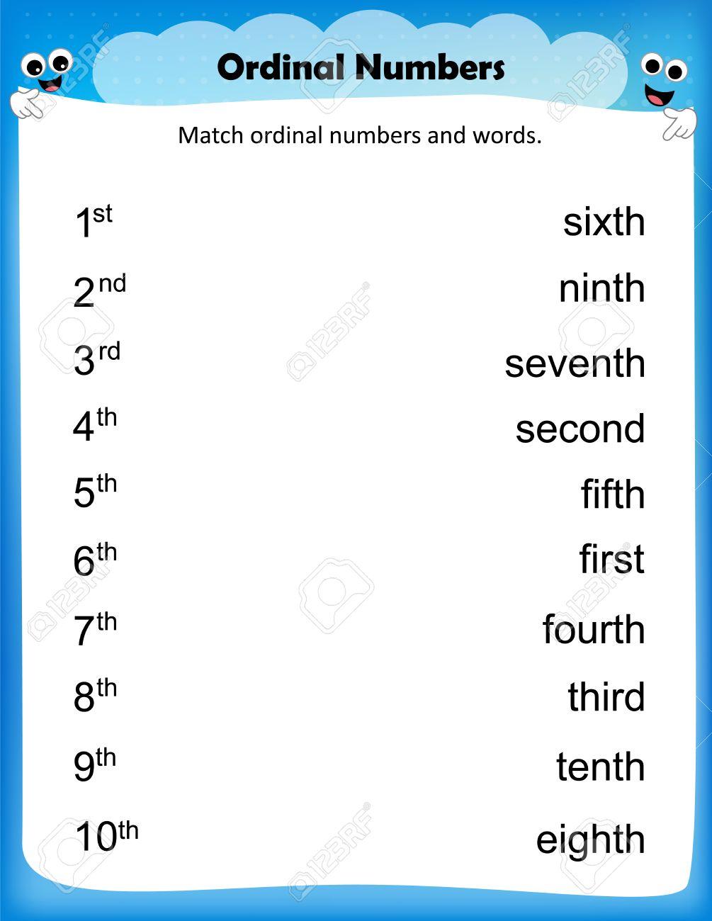 Worksheet - Match Ordinal Numbers Worksheet For Preschool Kids ...