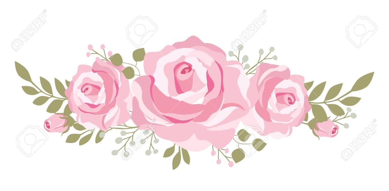 Boquet Rosado Hermoso De Las Rosas Para Las Tarjetas Del Día De Madre Boda O Invitaciones Nupciales De La Ducha