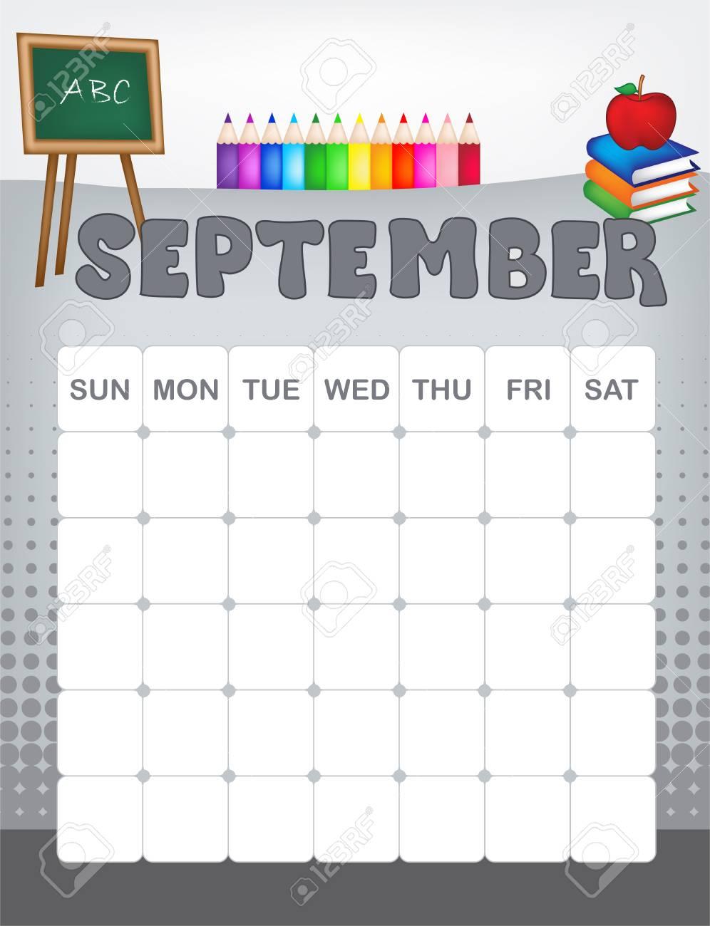 Page Calendrier.Colorful Page Calendrier Page Calendrier Avec Des Graphiques Saisonniers Pour Le Mois Amusant A La Page De Calendrier Calendrier De L 39 Ecole