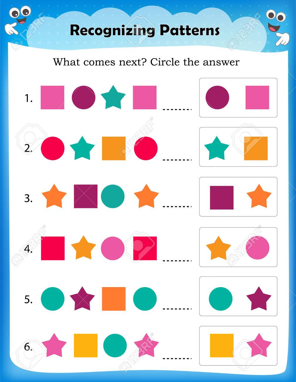 Worksheet Understanding Patterns   Complete Pattern With Correct ...