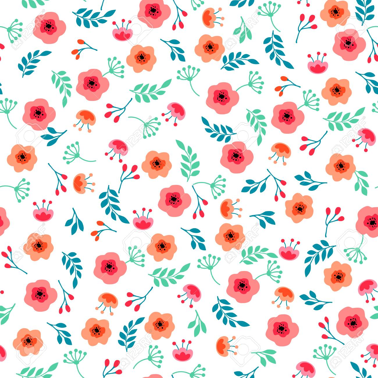 Spring Flowers Seamless Pattern Small Floral Pattern Floral