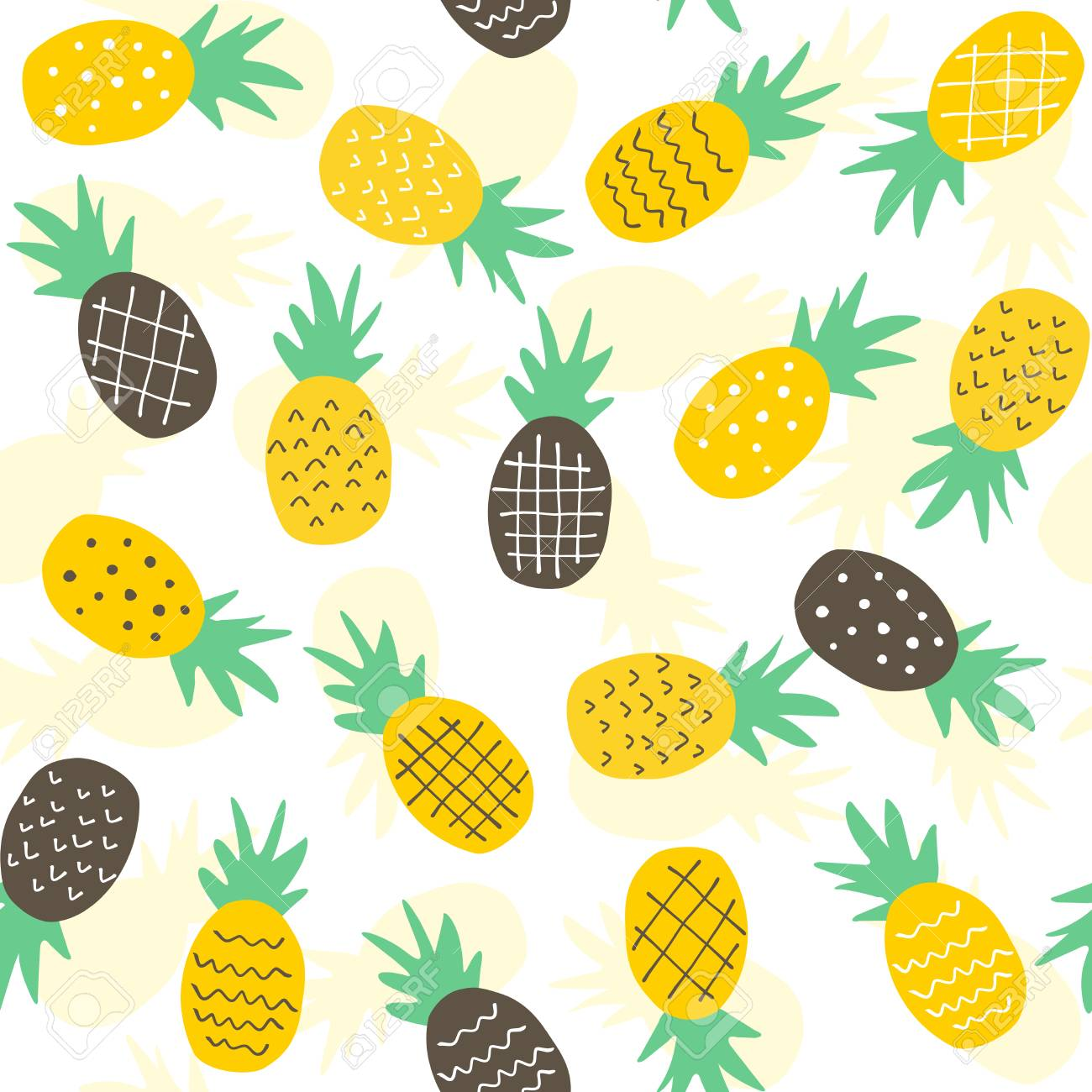 seamless pineapple pattern / cute pineapple doodle pattern for