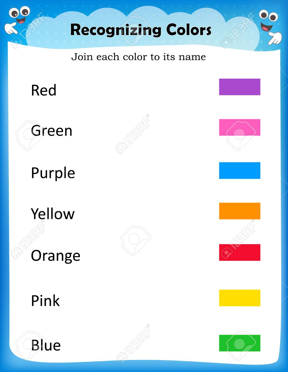 Kids Worksheet For Recognize Colors Find And Match Correct Royalty Free Cliparts Vectors And Stock Illustration Image 80041516 - 32+ Color Name Worksheets For Kindergarten Pictures