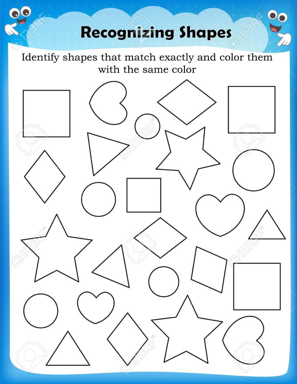 worksheet Identify Shapes Worksheet identifying shapes worksheet transformations rotations polygons math worksheets on multiplication 80041070 kids different stock vector ide
