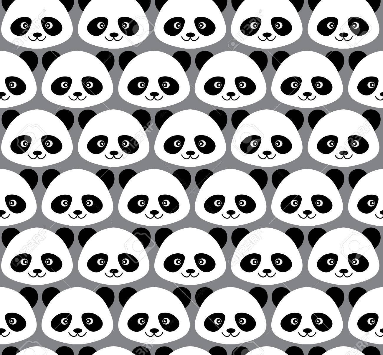 Patrón De Panda Linda De Dibujos Animados Sin Costuras Ilustraciones ...