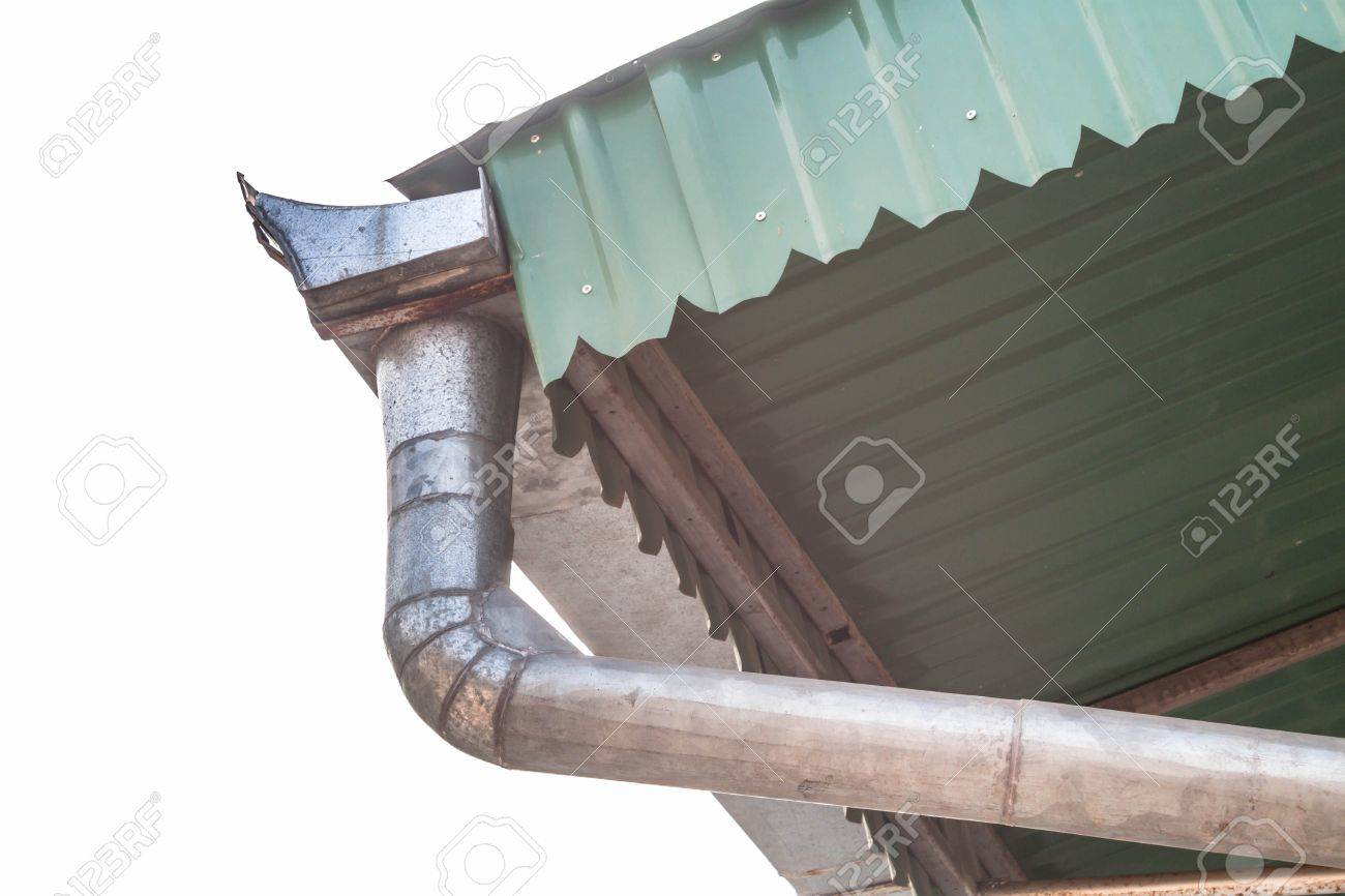 Outdoors aluminum roof gutter in front of the sky - 18275632