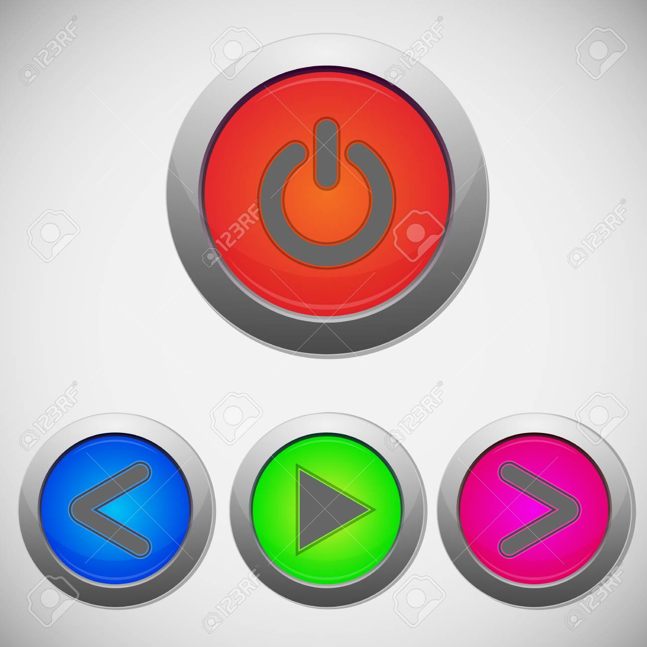 Set of player sign buttons, illustration Stock Vector - 20087663
