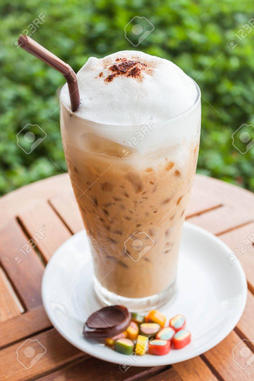 Refreshing iced milk espresso and some sweet - 20358073
