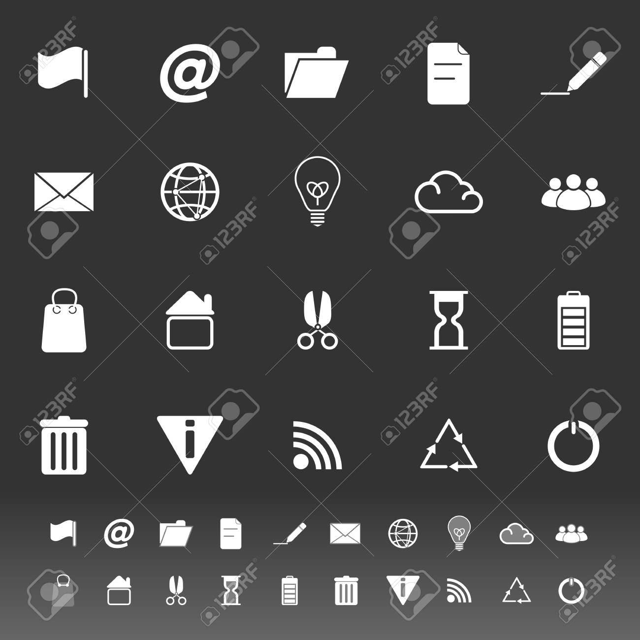 Web and internet icons on gray background, stock vector Standard-Bild - 25127009
