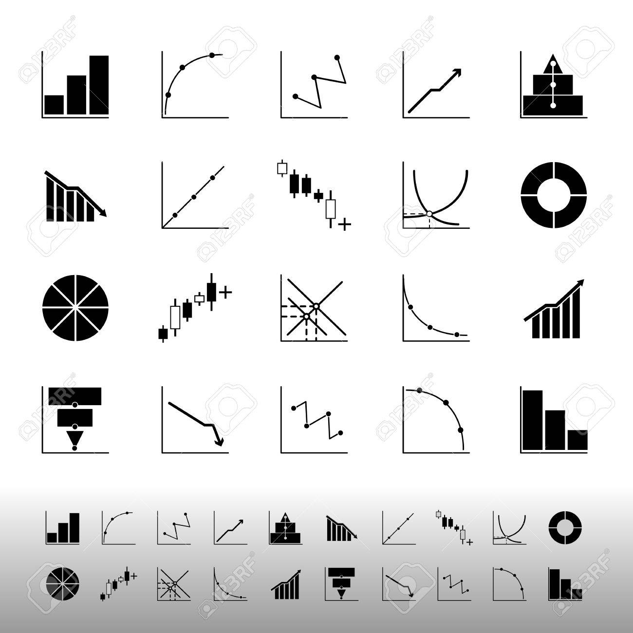Set of diagram and graph icons on white background, stock vector - 25127926