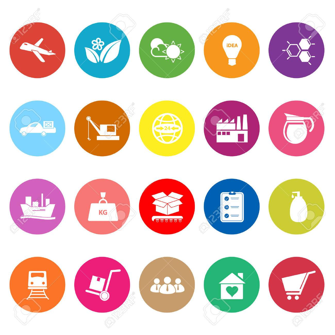 Supply chain and logistic flat icons on white background, stock vector Standard-Bild - 31428216