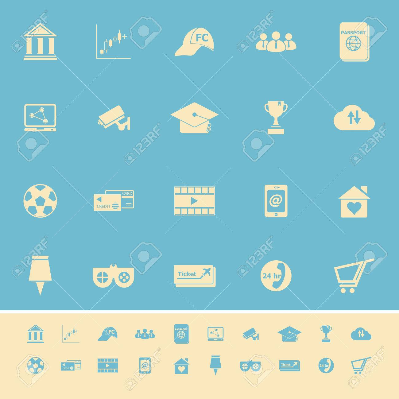 General online color icons on light blue background, stock vector