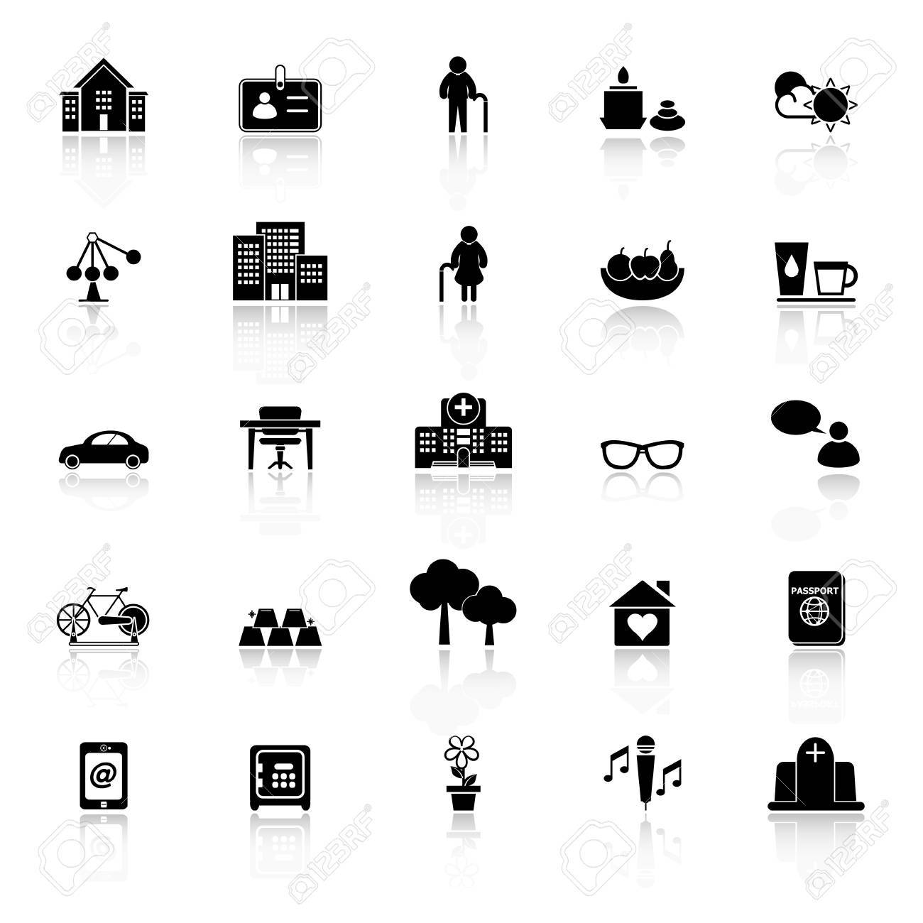 Retirement community icons with reflect on white background, stock vector - 35610462