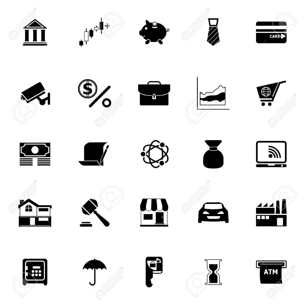 Banking and financial icons on white background, stock vector - 38687496