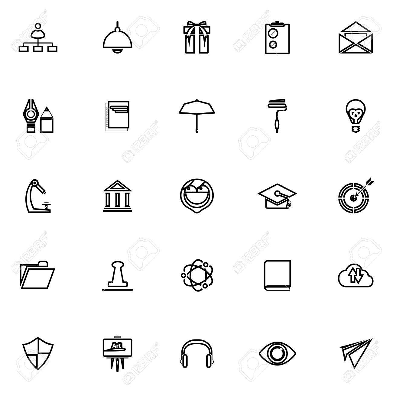 Job Lebenslauf Linie Symbole Auf Weissem Hintergrund Vektorgrafik