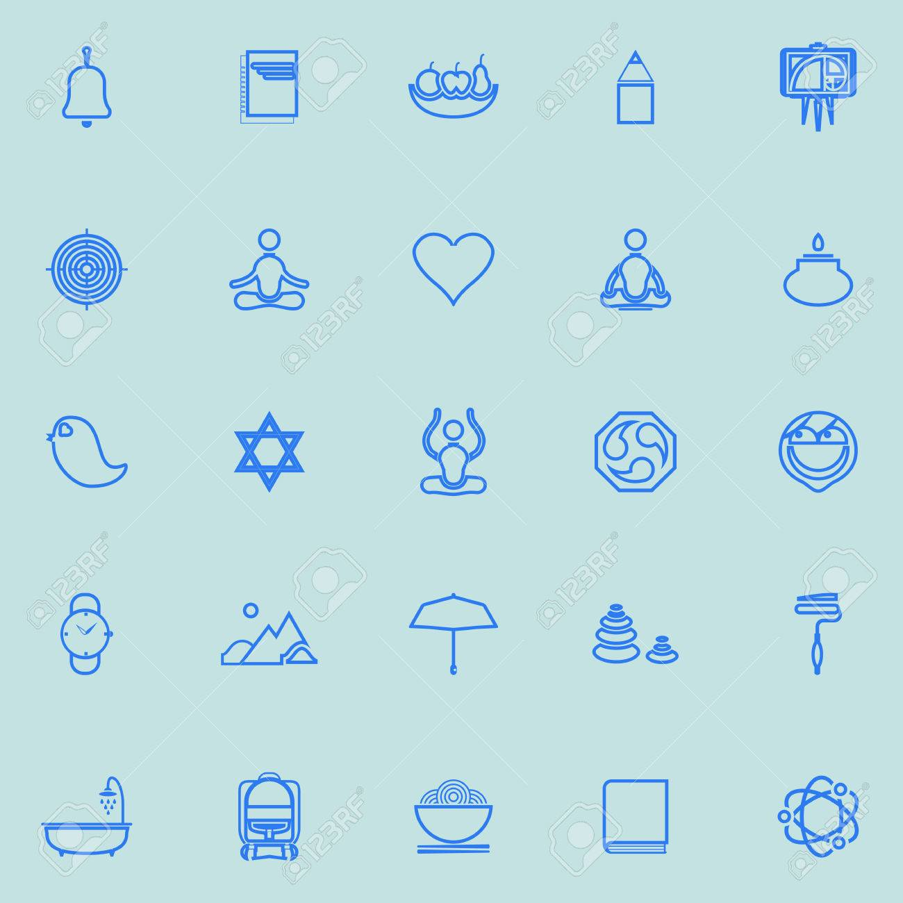 56d0048a Zen Society Line Icons Light Blue Color, Stock Vector Royalty Free ...