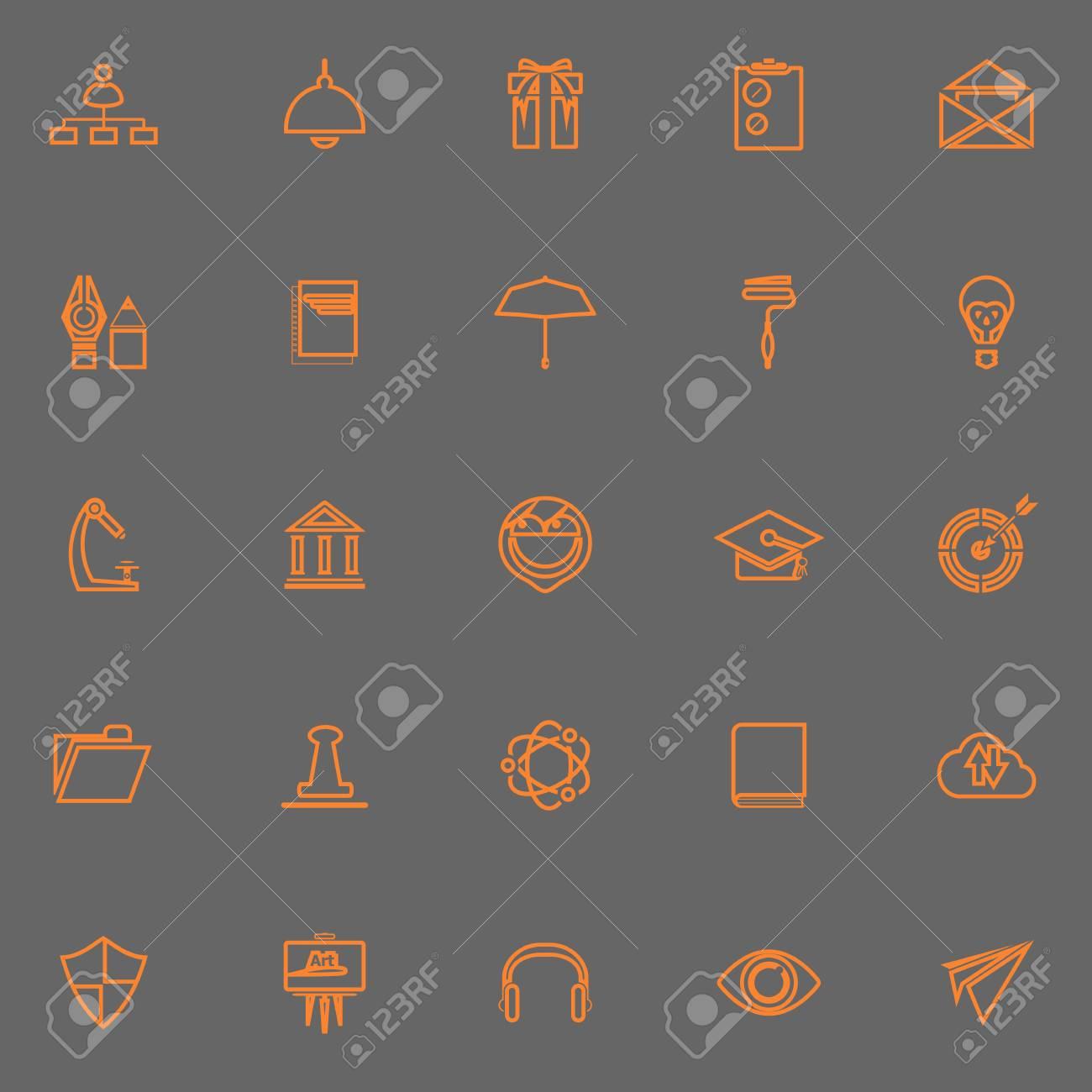 Línea De Curriculum Vitae Del Trabajo De Los Iconos De Color Naranja ...