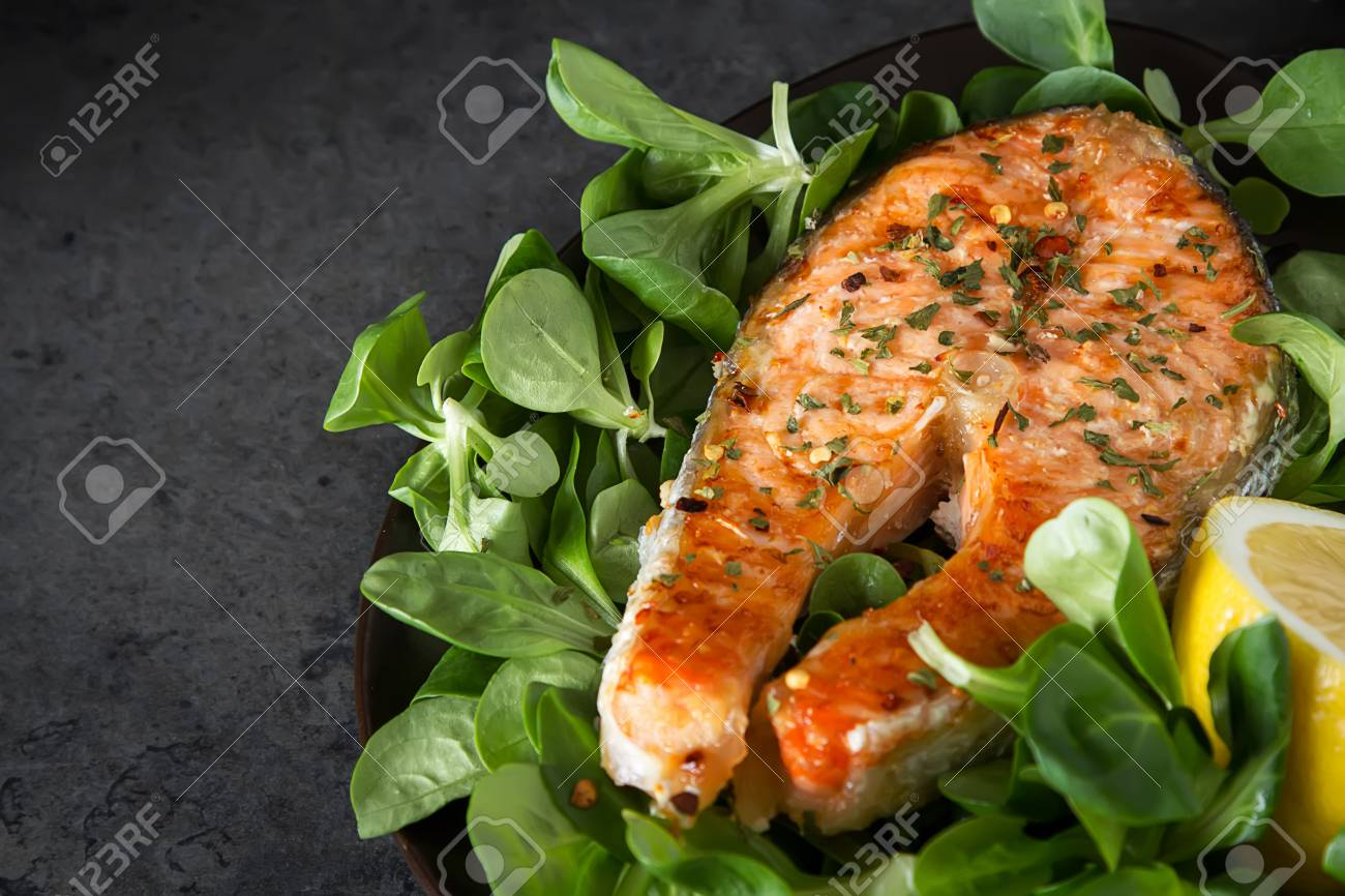 Grilled Salmon Steak With Lemon And Spices Cooked Fresh Fish