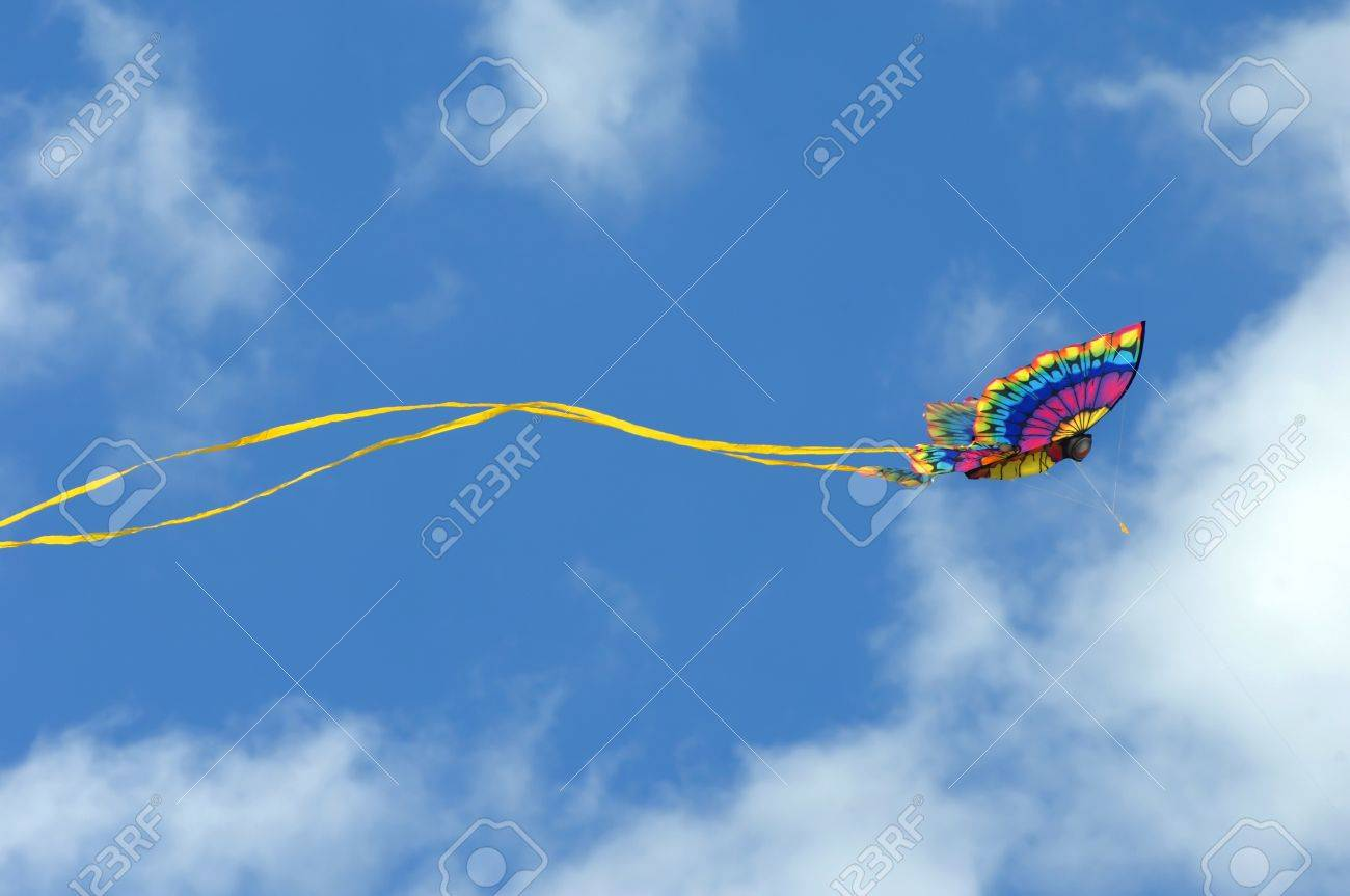 Gorgeous butterfly kite soars against a vivid blue sky at the Cape Charles, Virginia - 14555042