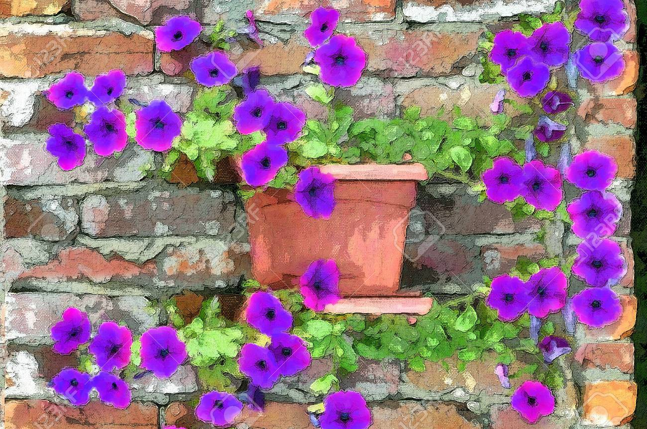 Brilliant petunias grow along an old brick wall   Rustic brick with cracked mortar sets off the glow of the purple petunias Stock Photo - 14824926