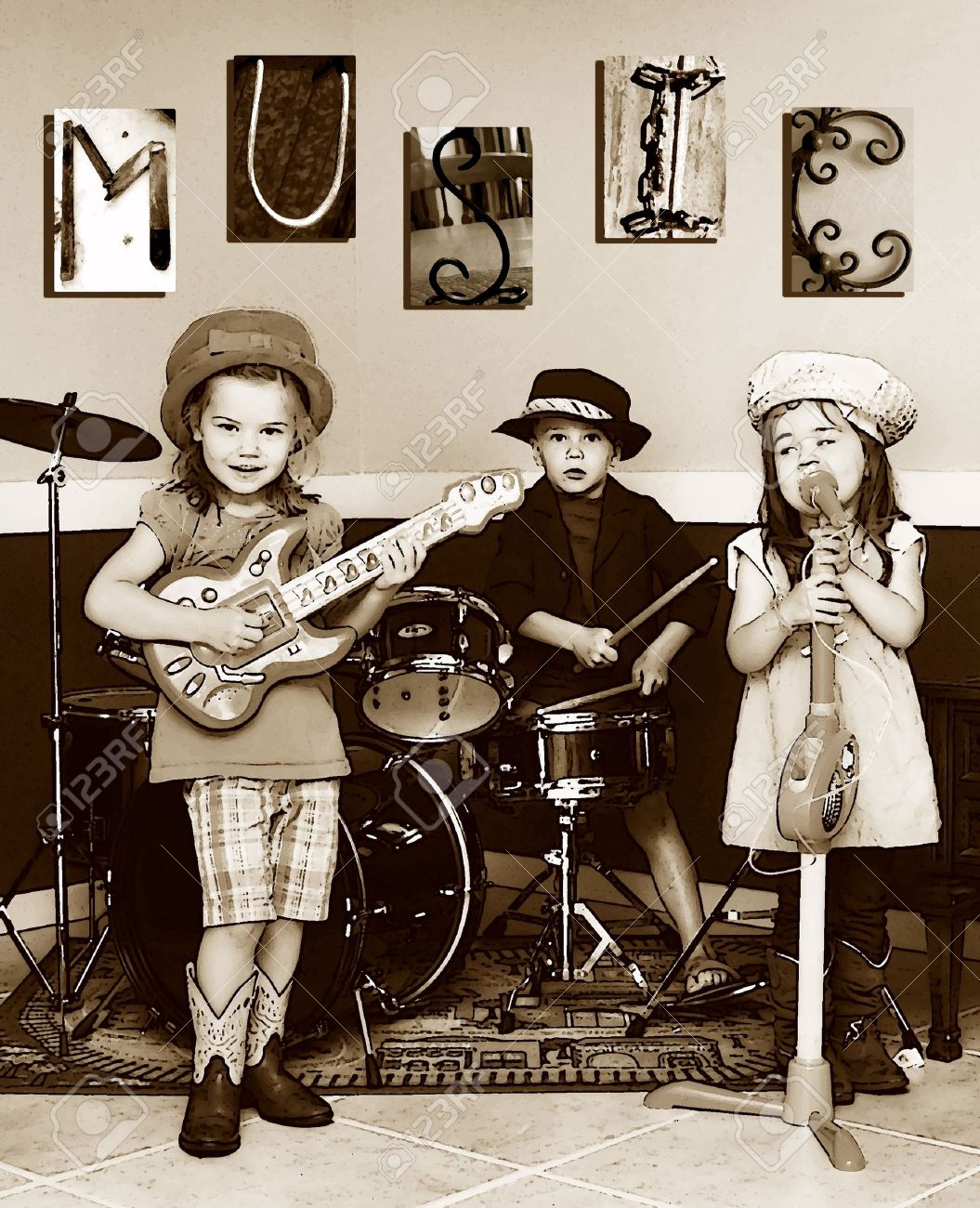 Three siblings pretend to be a music band. They are playing instruments and one is singing. The letters M, U, S, I, C is posted on the wall. Youngest member is singing. - 14838860