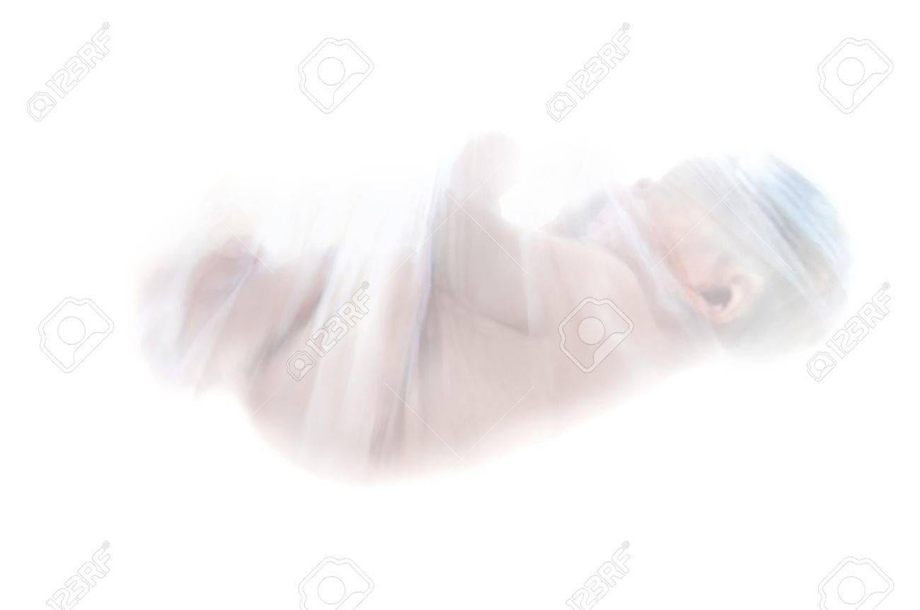 Newborn is wrapped in a protective covering of net and hangs suspended and is surrounded by white background   Representing the battle over abortion, mother Stock Photo - 14910120