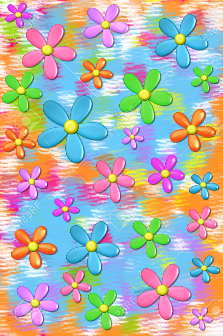 3D daisies float on a background of muted colors in aqua, orange and hot pink. - 14922780