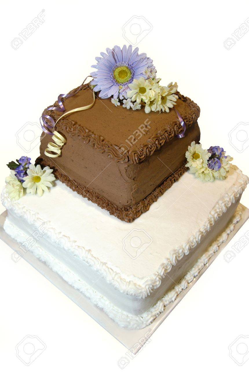 Two Layer, Iced Wedding Cake Has One Chocolate Layer And One.. Stock ...