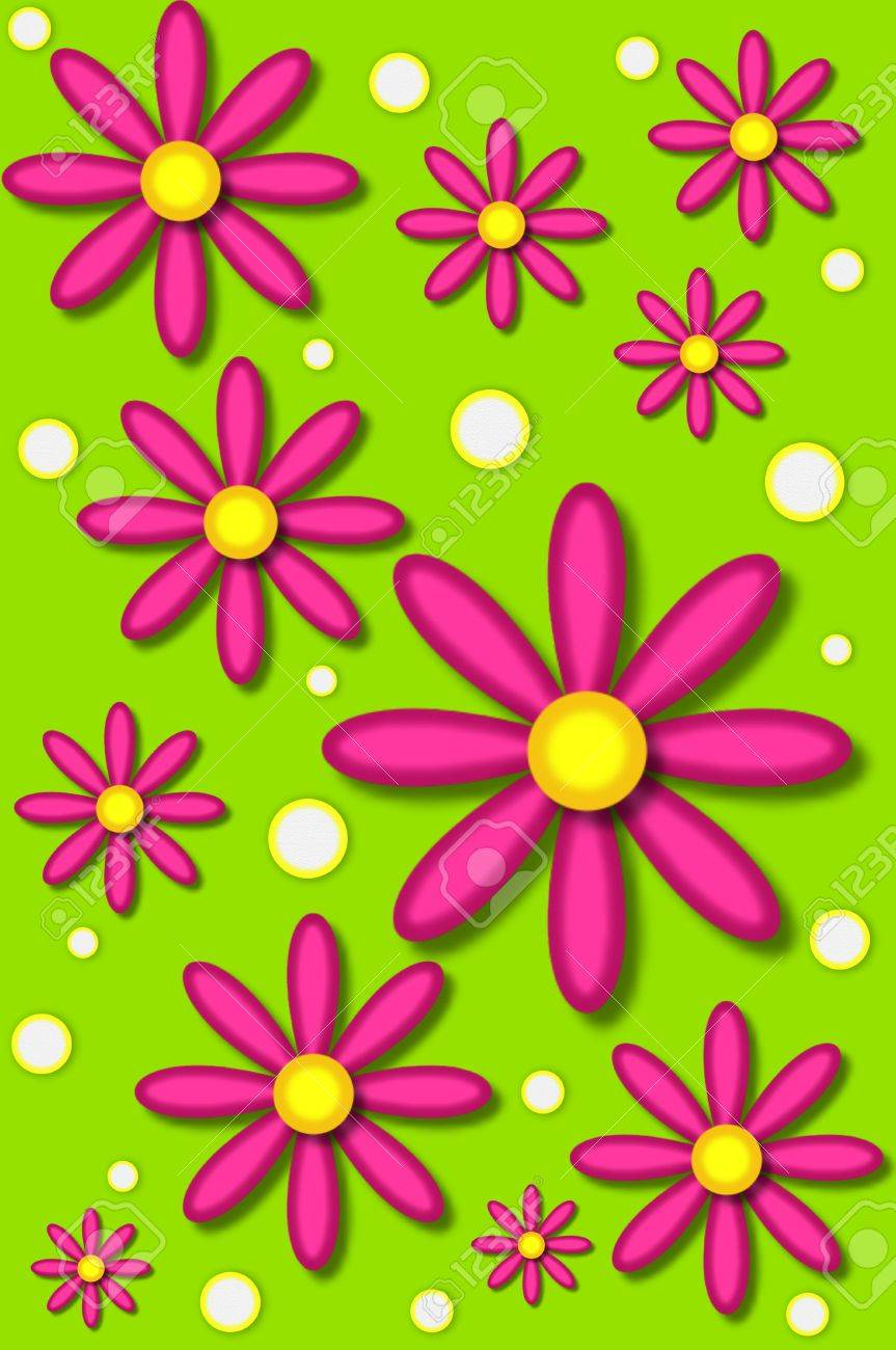 Scrapbooking Background Has Hot Pink Daisies And White Dots Backed