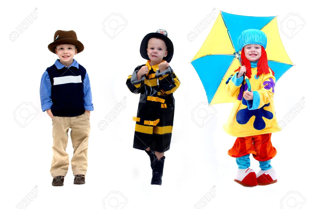 Triple image of same little boy shows a few choices for his future occupation A tough firefighter shows his wish to be helpful and a fighter The clown represents his ambition to be an actor or in the entertainment industry - 15044655