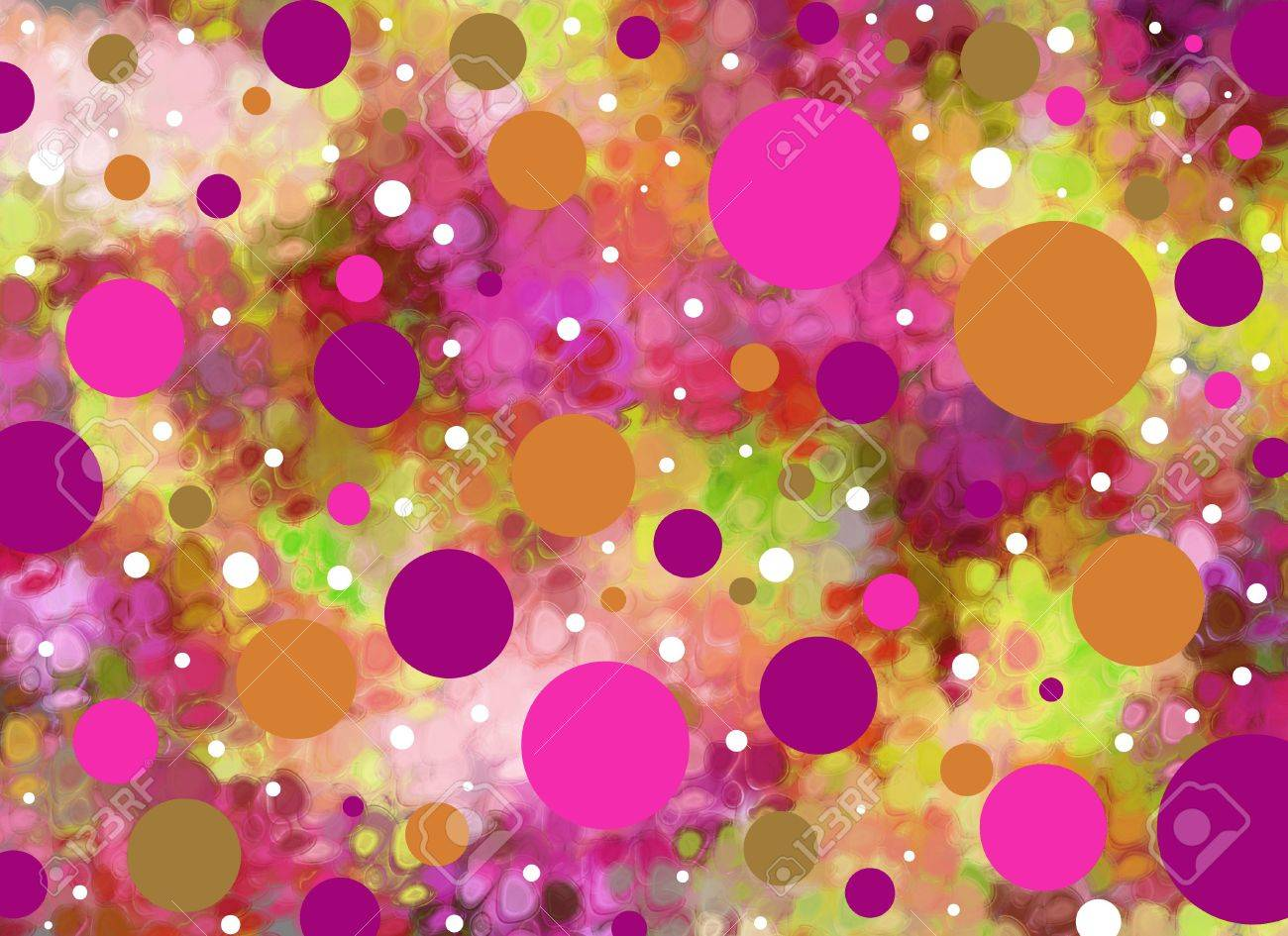 Background is smeared greens and aquas. Big and small polka dots in pinks and purples float across the surface. - 15056402