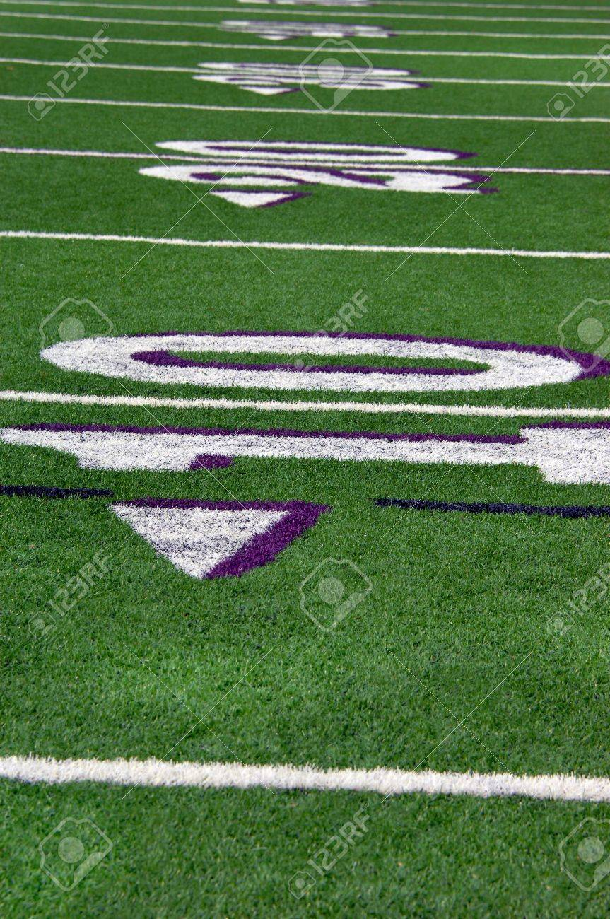 Lines Mark Off Yards Of Green Turf On High School Football Field Stock Photo Picture And Royalty Free Image Image 15104663