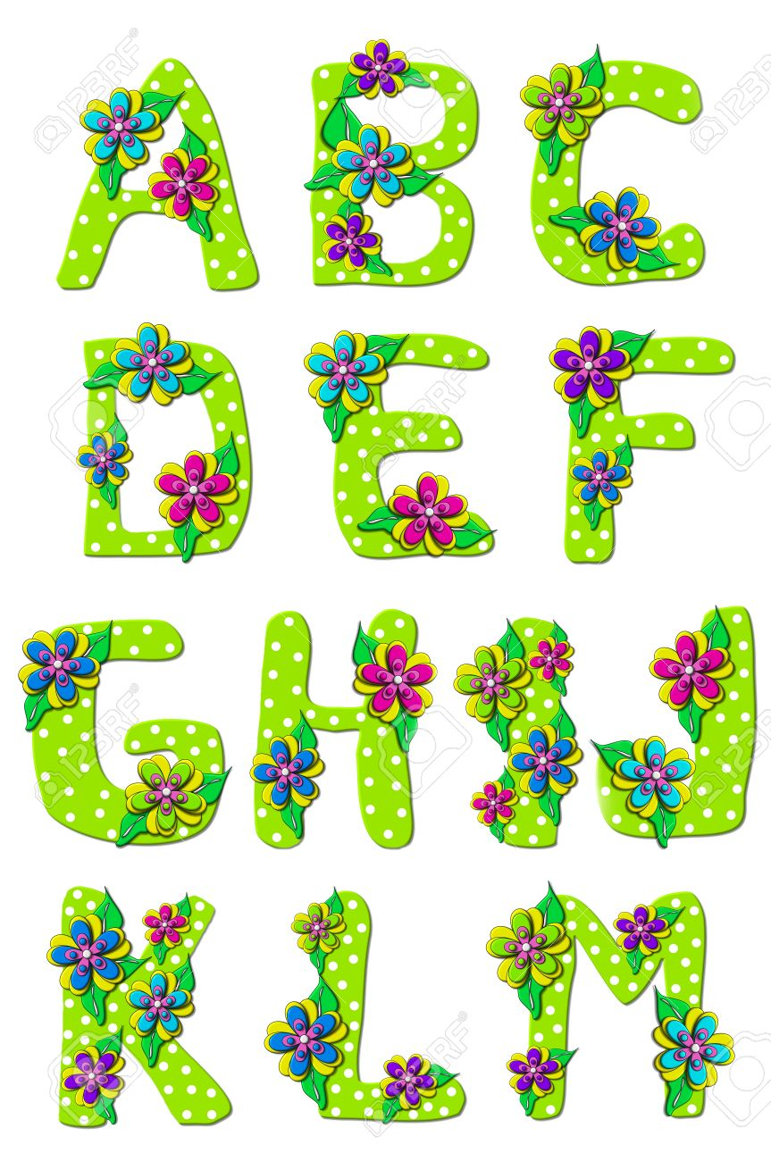 Vivid, green, alphabet letters A to M in the set