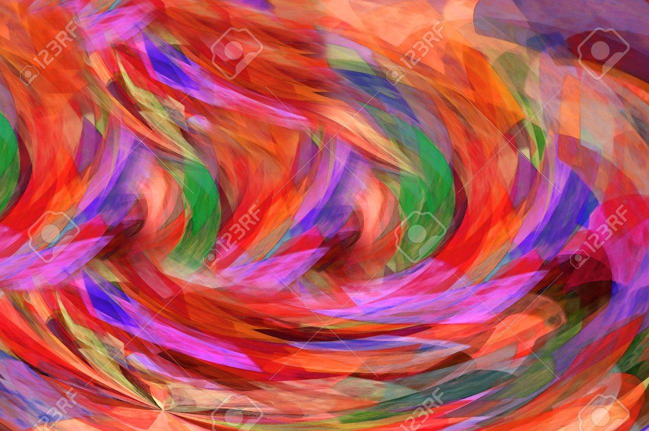 Glowing red, orange and green swirl in a vortex of moving color. Stock Photo