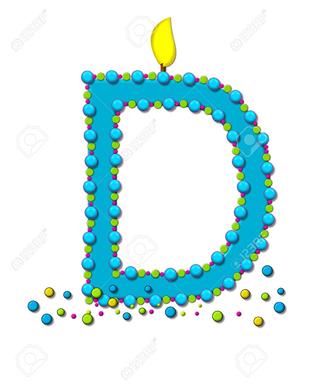 The letter d in the alphabet set birthday cake candle is aqua stock photo the letter d in the alphabet set birthday cake candle is aqua and outlined in fun colored sprinkles flame burns from top of letter thecheapjerseys Choice Image