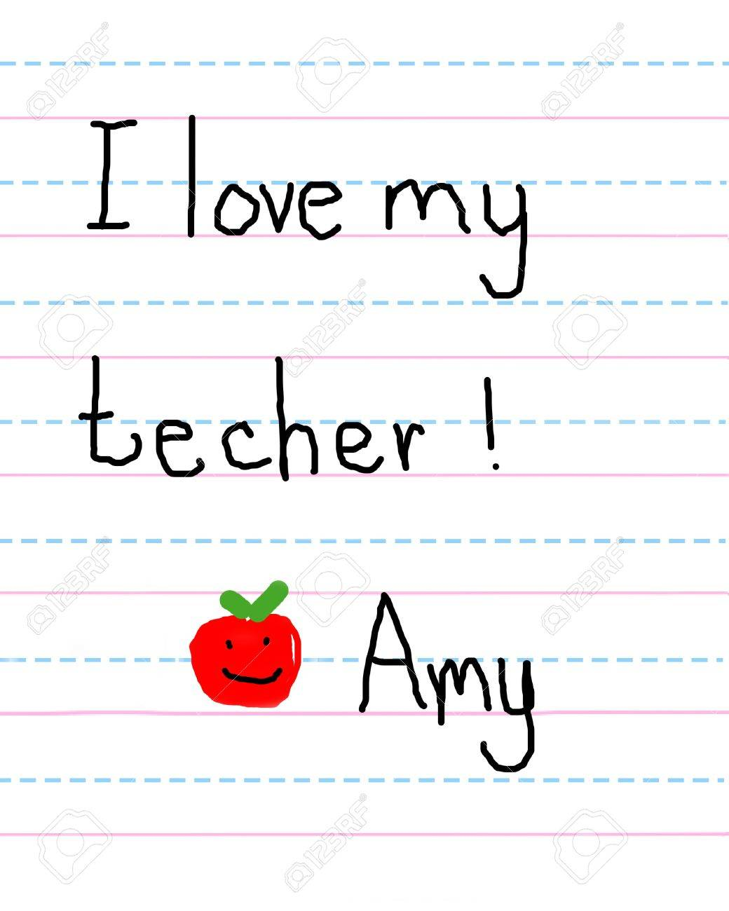 Little Girl Writes Note To Her Teacher And Signs Her Name She