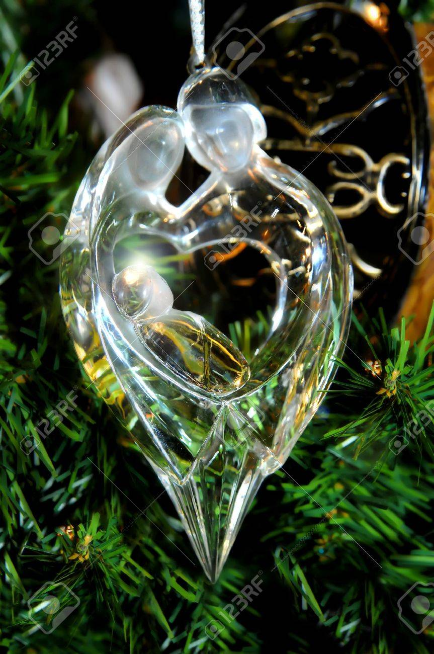 Chrystal Ornament Depicts Mary And Joseph Holding Baby Jesus ...