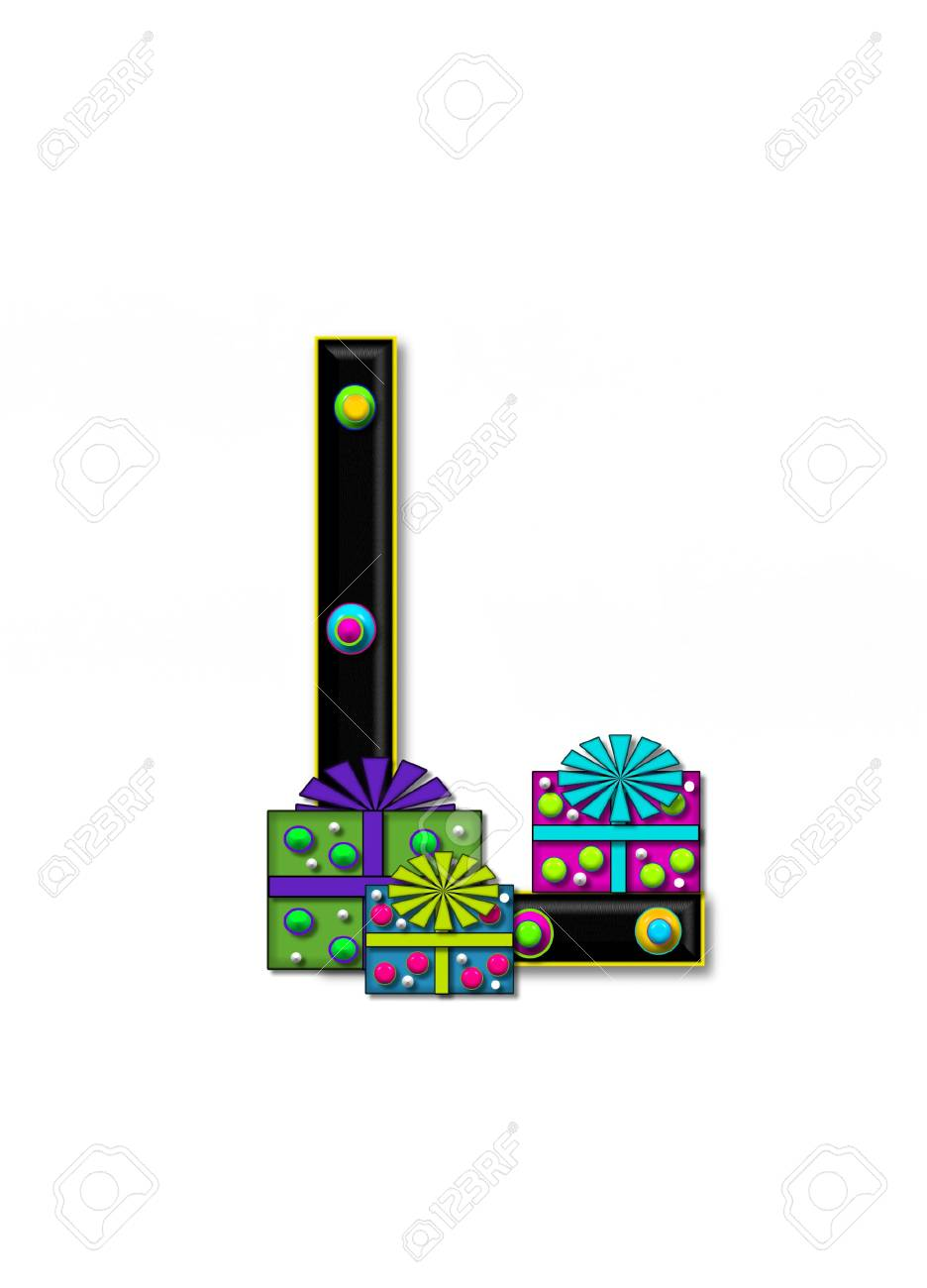 L, in the alphabet set Birthday Boxes, has multi-colored packages with polka-dots and ribbon.  Letters are black with colored outline. 3D circles decorate letters. Stock Photo - 16319085