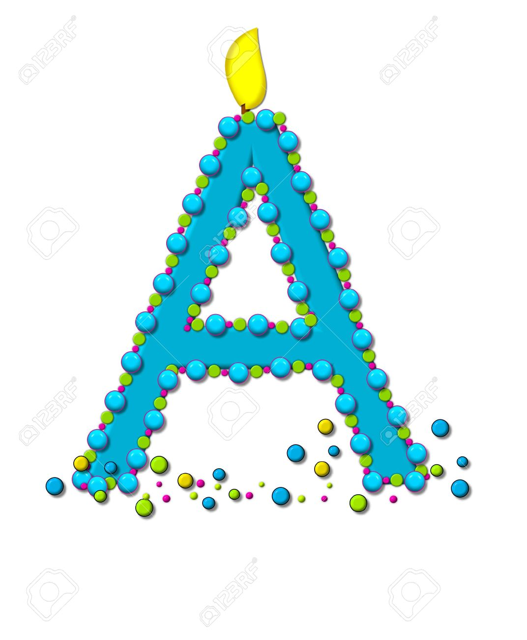 The Letter A In Alphabet Set Birthday Cake Candle Is Aqua