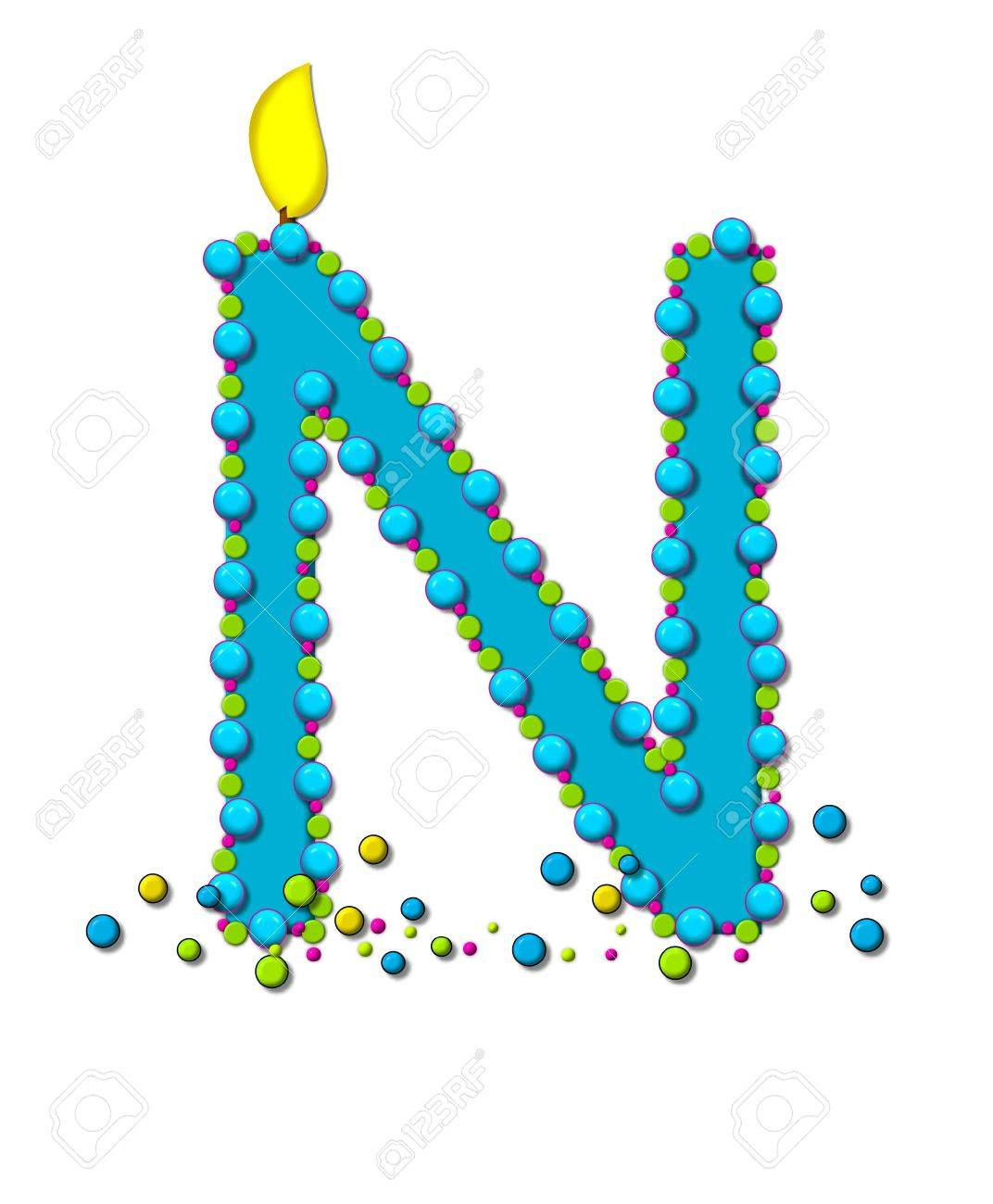 stock photo the letter n in the alphabet set birthday cake candle is aqua and outlined in fun colored sprinkles flame burns from top of letter